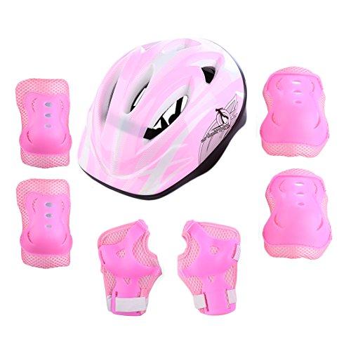 Giplar 7 in 1 Set di casco protezione bambini per Skateboard e Bicicletta (Ginocchiere + Gomitiere +...
