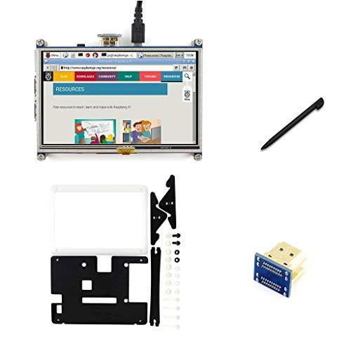 IBest Waveshare 5inch HDMI LCD 800x480 Resistive Touch Screen Display Monitor Touchscreen with Case for Raspberry Pi 3B+ /3B /2B B+ /3A+ /A+ /Zero/Zero W, Support Raspbian Ubuntu Kali Retropie
