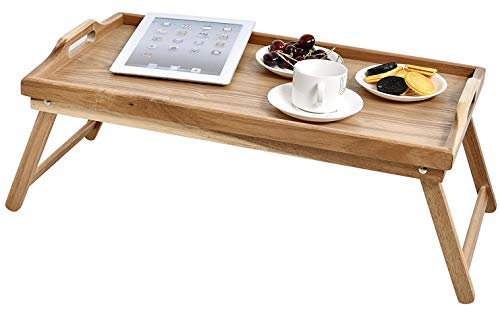 BOIS ART Acacia Wood Breakfast Bed Tray Serving Tray with Handle, Foldable Breakfast Table, Laptop Desk, Bed Table, Serving Tray