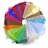 PandaHall 200PCS Sacchetti Organza Sacchetti Trasparente Buste Sacchetti Regalo Gioielli Colore Misto, circa 9cm di lunghezza, 7cm di larghezza