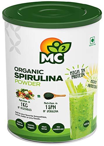 MC² by Indosigma Holdings Organic Spirulina Powder -Natural Vegan Protein and Nutrients -MC2, 100 g