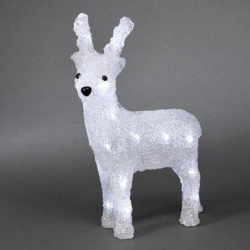 Renne LED à piles en acrylique 24 LEDs 32 cm 3D Décoration de Noël – 6158-203