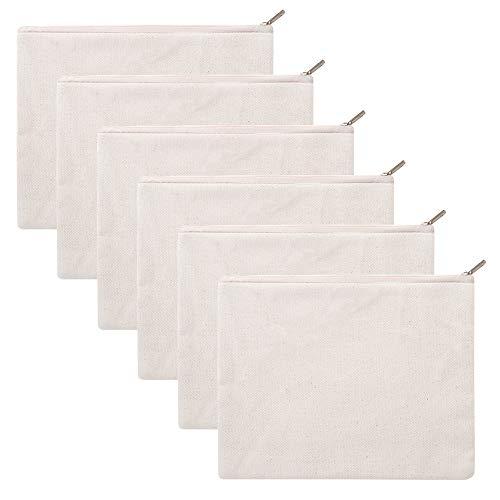 Aspire - Confezione da 6 astucci in tela di cotone con cerniera, 20,3 x 15,2cm/portapenne e matite...