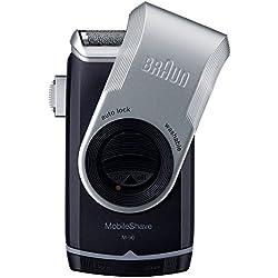 Braun MobileShave Elektrorasierer M-90 für unterwegs, schwarz/silber