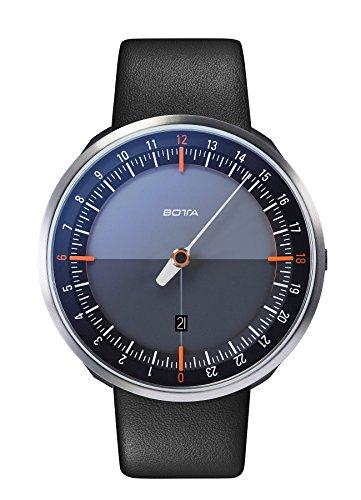Botta-Design UNO 24 Plus Orange Quarz Armbanduhr - 24H Einzeigeruhr, Edelstahl, Saphirglas Antireflex, Lederband (45 mm, Schwarz)