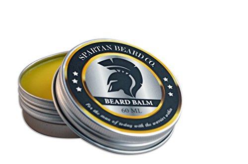 Spartan Beard Balm (60ml)–Leave-In Après-shampoing pour les hommes, réduit frisottis, boucles et cassures–Fait Barbe Cheveux souples et élimine la peau sèche–Cire d'abeille et huile d'amande