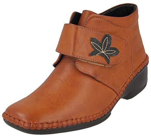e287de77cfcea Cushion Walk Women's Wedge Heel Hook and Loop Flower Leaf Motif Ankle  Height Boots UK 3-8