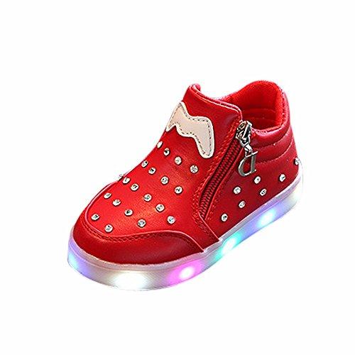 Innerternet Scarpine Invernali Neonato Scarpe da Ginnastica per Bambini Luminose a LED in Cotone con Zip per Bambini Neonato