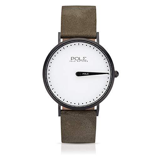 Pole Watches - Everest - Quarz-Analoguhr für Herren mit Weiß Zifferblatt und Steingrau Lederarmband C-1002BL-NE01