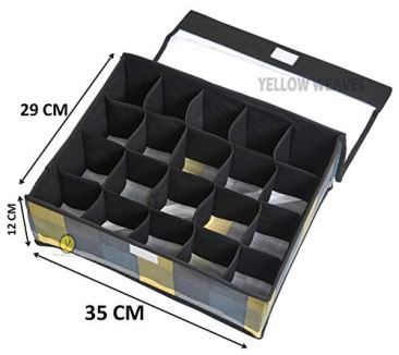 Yellow WeavesTM Undergarments Organizer/Foldable Storage Box with Lid for Drawers, Color - Multi 5