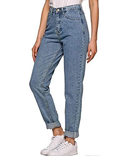 amilses Hose Damen Jeans Blau Hose Boyfriend High Waist Jeans Hose...