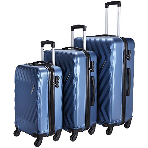 Nasher Miles Lombard Hard-Side Luggage Set of 3 Blue Trolley Bags (55, 65 & 75 cm)