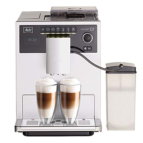 Melitta Machine à Café et Boissons Chaudes Automatique, Fonction My Coffee, Bean Select, Réservoir à Lait inclus, Caffeo CI, Argent, E970-101