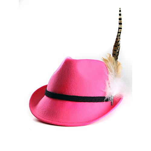 ALMBOCK Trachtenhut Damen mit Feder | Trachtenhüte in vielen Farben und den Größen S M L | Trachten Hut hergestellt aus Woll-Filz (S (54cm), Pink | Modell H9)