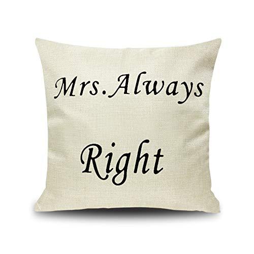 Mr. Mrs.Right Bart - Coppia di federe per cuscino da divano, Frau Immer, 45x45cm