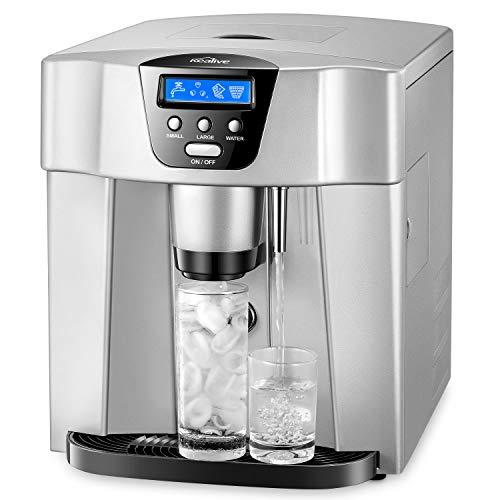 Machine à Glaçons Kealive, Machine a Glace Automatique avec Écran LCD, Bouton Glace et Bouton eau froide, 9 Glaçons / 6-10 Min, 12kg-15kg Glace / 24h, Remplir un tuyau d'eau/ 1.8L Réservoir/Argent