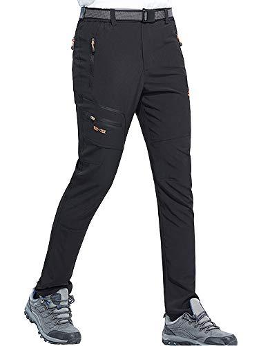 DENGBOSN Pantalones de Senderismo Hombres Ropa Deportiva Escalada Trekking Montaña Resistente al Viento Secado Rápido Transpirables y Ligeros,KZ1602-Black-XL
