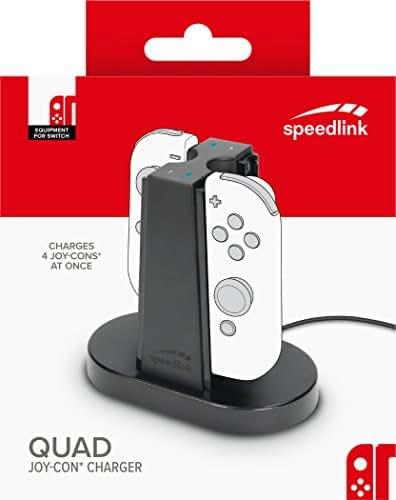 Speedlink 4-Fach Ladestation für Nintendo Switch Joycon - QUAD CHARGER USB (Einfache Einschubkonstruktion - Kompakte Größe - Ladestatus LED - 1m USB-C-Kabel) Schwarz