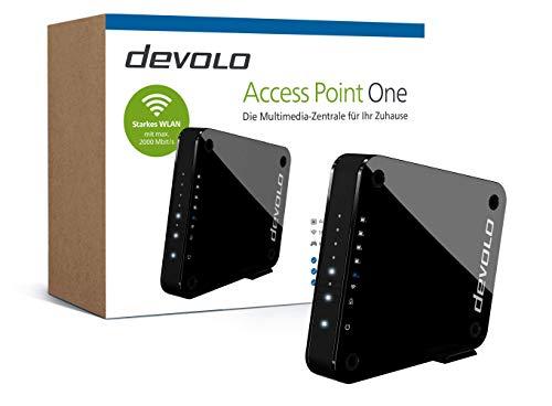 "devolo Access Point One Multimedia Allrounder \""WLAN Monster\"" (WLAN AC bis 1733 Mbit/s, 1x Highspeed Gigabit-Port, 4X Ethernet Ports), schwarz"