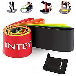 INTEY Bandas Elásticas Set de 5 Loop Resistance Bands Para Mejorar Fuerza Fitness Crossfit Pilates Ejercicios con Cinta Elásticas Incluye Bolsa de Transporte