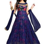 Sojitra Enterprise Women's Blue color Benglori Silk with Heavy Printed Work Gown (Free size_ Blue)