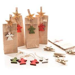 '5Marrone motivi natale ciondolo con angeli colorati in legno e pinza Buon Natale Grigio Mar