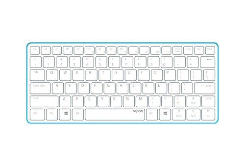 Rapoo E6350 ultraschlanke kabellose Bluetooth 3.0 Tastatur aus Aluminium (nur 4,9mm dünn, Multimedia, 2 Monate Akkulaufzeit, QWERTZ deutsches Layout) weiß-blau