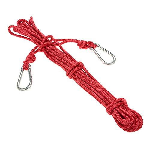 Docooler 6mm * 10m Cuerda de Seguridad Cuerda de Escalada Profesional de alta Resistencia Rescate de Espeleología Soga de Cuerda de Supervivencia con Mosquetón
