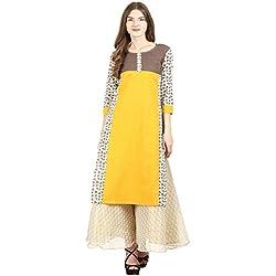 La-Firangi Women's Straight Kurta (STYLE688_yellow_Off White and Brown_medium)