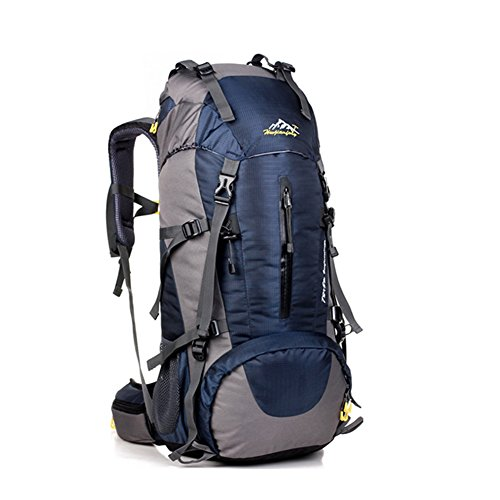 Mochila de 50 litros, ideal para deportes al aire libre, Senderismo, Trekking, Camping Travel, Escalada. Bolso impermeable del alpinismo, Daypacks que suben del recorrido, mochila(50L, Azul Oscuro)