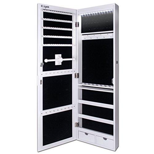 Ezigoo Schmuckschrank Spiegel Türgestell / Spiegel Schmuckschrank hängend mit LED Lichtleiste 110 x 31,5 x 8,5 cm