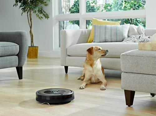 41darDnB8iL [Bon Plan Neato] iRobot Roomba 960, aspirateur robot avec forte puissance d'aspiration, 2 brosses anti-emmêlement, idéal pour animaux, capteurs de poussière, parfait sur tapis et sols, connecté, programmable via app