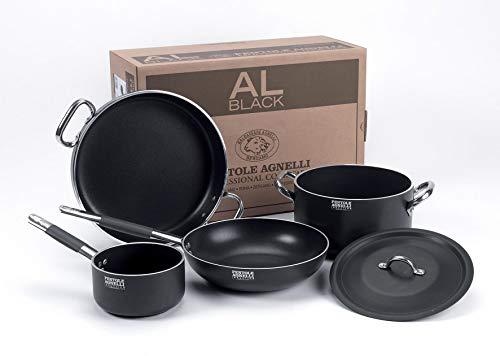 Set Batteria Pentole Agnelli per Induzione in allumino Antiaderente per 3-4 Persone al-Black