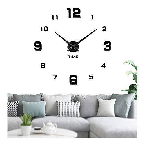 Vangold Adesivo da parete con orologio moderno senza cornice, in metallo, con specchio in acrilico, 3D, ideale per fai da te e decorare la casa-2 anni di garanzia (Nero-22)