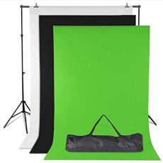 Amzdeal Soporte de fondo Kit 3m × 2m + 3 * Fondos fotográficos -1.6m × 2m Negro / Blanco / Verde para la fotografía
