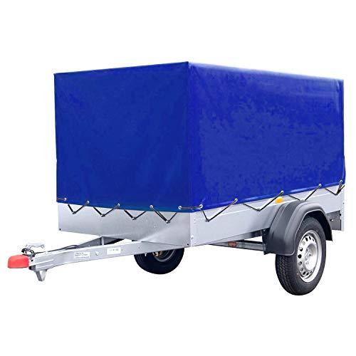 FIXKIT Anhängerplane hochplane mit Gummigurt für PKW Anhänger 2100x1140x880 mm (Blau)