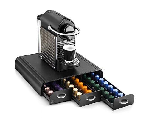 CEP 2230060011 Organizzatore cialde per macchina da caffè, in plastica, colore: nero, 3 cassetti