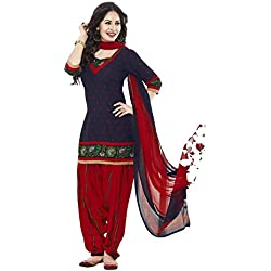 Ishin Women's Synthetic Blue & Red Bollywood Printed Unstitched Salwar Suit Dress Material (Anarkali/Patiyala) With Dupatta
