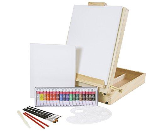 """XL-TISCHSTAFFELEI + Malset \""""RIVA\"""" 30-teilig mit Acrylfarben, Pinselset + 2x Keilrahmen, große Version für Bilder bis 70 cm, Utensilienkoffer, Kofferstaffelei"""