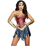 GREATCHILDREN Costume da Cosplay per Adulti Wonder Woman Costume con Copricapo e Protezione per Le Mani (XL/IT 42)