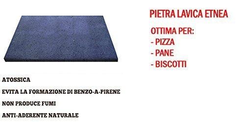 PIETRA LAVICA ETNEA 39x35X2 cm | PIASTRA PER FORNO DA CUCINA - IDEALE PER PANE E PIZZA