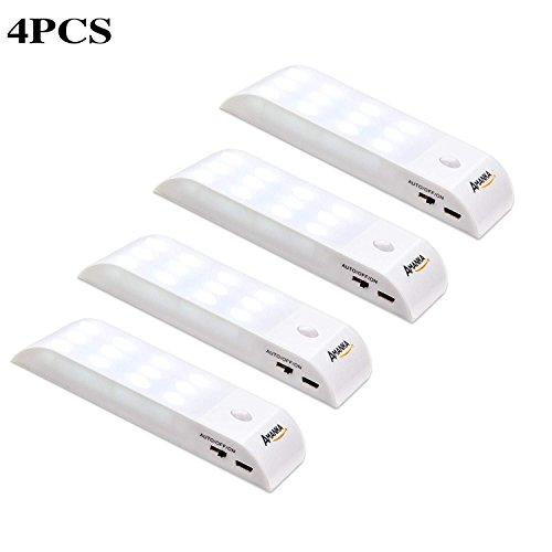 Luce Notte LED, AMANKA 4 Pcs Lampada Armadio con Sensore Movimento, USB Ricaricabile luce notturna...