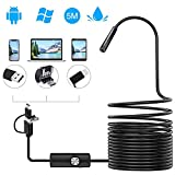 Endoskopkamera Android 3 in 1 USB/Micro USB/Type-C Endoskop USB 2.0 Megapixel HD Inspektionskamera Semi-Rigid Cable Kompatibel mit Android Phone Tablet Windows-5M (schwarz)