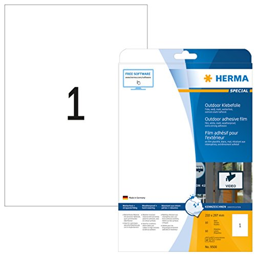 HERMA 9500 Wetterfeste Folien-Etiketten DIN A4 (210 x 297 mm, 10 Blatt, Polyethylen, matt) selbstklebend, bedruckbar, extrem stark haftende Outdoor Klebefolie, 10 Klebeetiketten, weiß