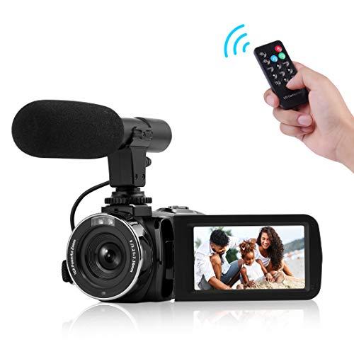 """Camcorder Digital-Videokamera, Camcorder mit Mikrofon WiFi IR Nachtsicht Full HD 1080P 30FPS 3\"""" LCD Touchscreen Vlogging Kamera mit Fernbedienung"""