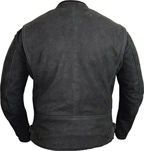 Motorrad Lederjacke aus echtem Nubuk Leder in matt schwarz 2