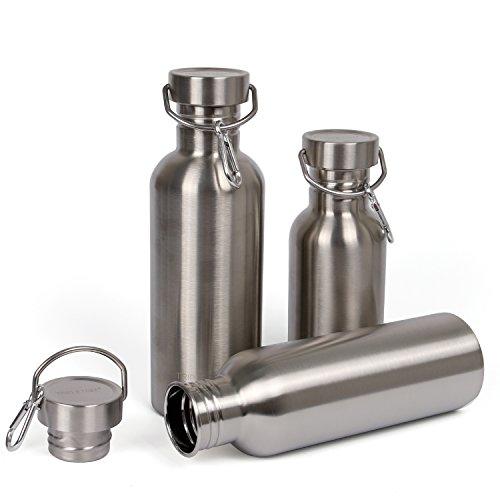 Edelstahl Trinkflasche 1L/750ml/500ml BPA Frei Trinkflasche Auslaufsichere für Outdoor Wandern Fahrrad (1000ml/34oz)