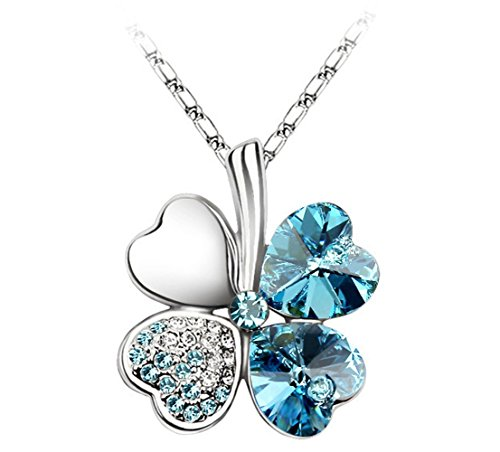 La notte stellata a forma di cuore dolce quadrifoglio argento ciondolo collana 45cm adatto a...