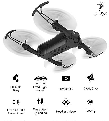 Jack Royal R/C Foldable Z1 HD Wi-Fi Camera Pocket Drone RC Quadcopter with Headless Mode and Altitude Hold