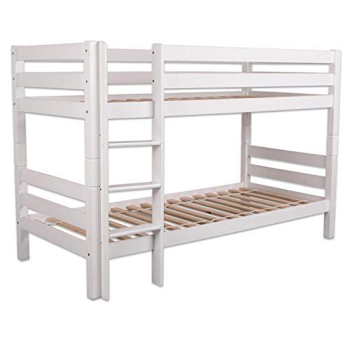 Bubema Maja Kinder Etagenbett/Hochbett, Buche massiv, mit oder ohne Rutsche, verschiedene Farben Farbe Weiß lackiert, Größe Ohne Rutsche